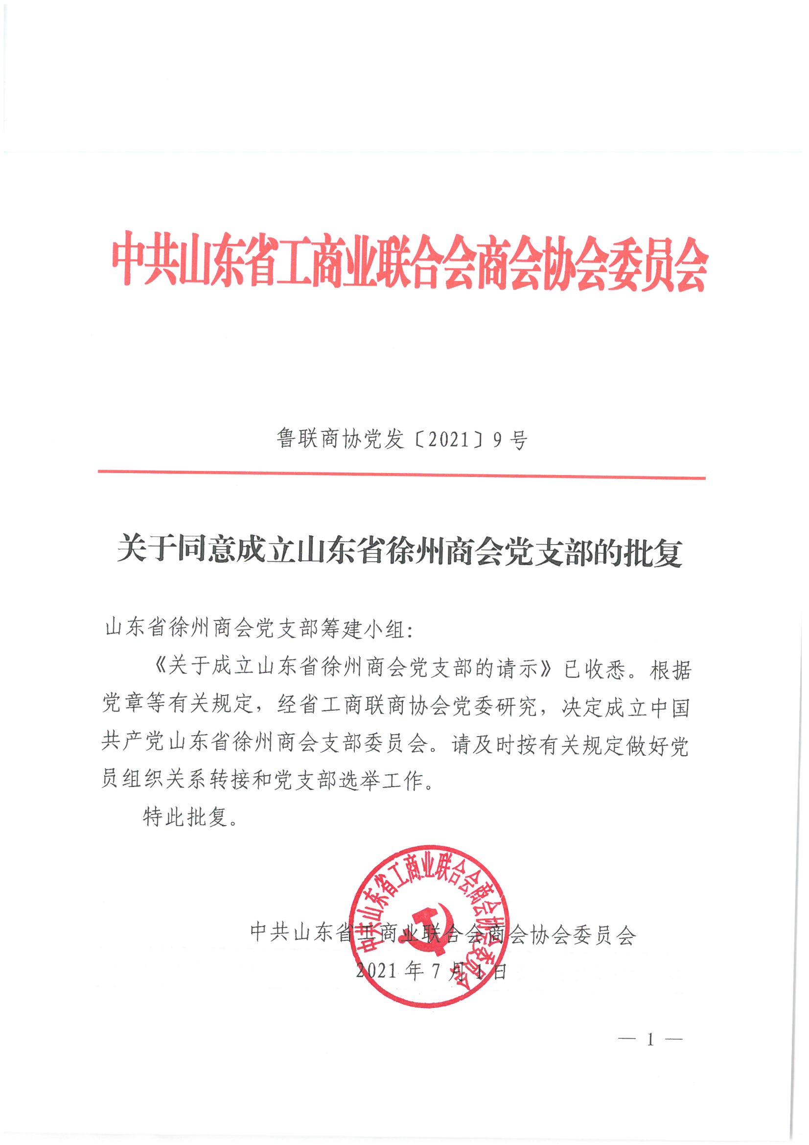 加强政治引领 打造党建品牌 ——山东省徐州商会党支部成立